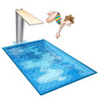 girl diving down the swimming pool vector image vector image