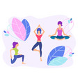 girls do yoga healthy lifestyle concept floral vector image