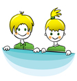 Happy boy and girl with bright yellow hair vector image vector image