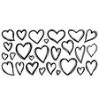 heart hand drawn valentines doodle love set vector image