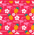 hello summer seamless pattern with flamingo vector image vector image
