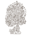 Home monochrome ornament for adult coloring book vector image vector image
