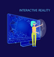interactive reality female wearing glasses vector image vector image