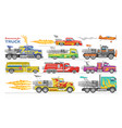 jet truck afterburning race car and flamy vector image vector image