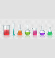 laboratory equipment realistic 3d glass tubes vector image