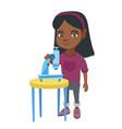 little african schoolgirl using a microscope vector image vector image