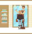 male hairdresser brushing hair of bearded man vector image