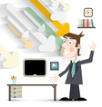 Man in Office in Suit with Paper Cut Arrows and vector image vector image