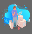 man stands on background parcels blue vector image
