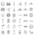 mug icons set outline style vector image vector image