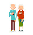 old people drinking coffee elderly persons man vector image