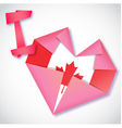 origami paper i love canada heart card vector image vector image