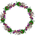 painted wreath of burdock flowers mouse peas vector image vector image