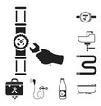 plumbing fitting black icons in set collection vector image