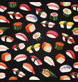 seamless pattern sushi roll vector image vector image