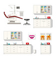 set of different furniture for a dentist vector image vector image