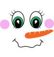 snowman girl face icon cute girl big eyes vector image vector image