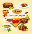 spanish cuisine tasty dinner dishes cartoon icon vector image vector image