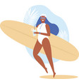 surfer girl walking with board on sandy beach vector image