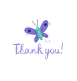 Thank you butterfly card vector image vector image