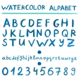 Watercolor blue alphabet vector image vector image