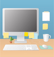 workspace and monitor vector image vector image
