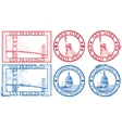 usa famous cities stamps vector image