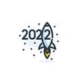 2022 rocket icon happy new year numbers cartoon vector image vector image