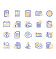 accounting line icons set of calculation check vector image vector image