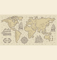 Ancient rusic world map with engraved nautical
