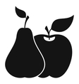 Apple and pear icon simple style vector image