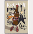 banner for rock-n-roll pub with funny beer bottle vector image vector image