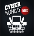basket discount cyber monday black background vector image vector image