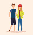boy and girl couple with casual clothes vector image vector image