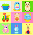 colorful childrens toys in bright squares set vector image