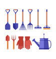 colorful garden tools for gardening landscaping vector image