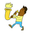 comic cartoon man blowing saxophone vector image