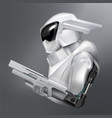 concept of fictional armed robot police vector image vector image