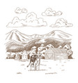 cows grazing on meadow hand drawn farm land vector image