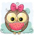 cute cartoon owl girl with watermelon vector image