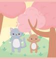 cute little cat and rabbit tree cartoon animals in vector image vector image