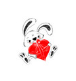 cute rabbit with red heart for gift hand drawn in vector image