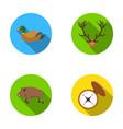 duck deer antlers compass wild boarhunting set vector image vector image