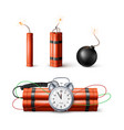dynamite bomb with countdown clock and black vector image vector image