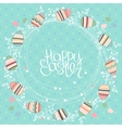 Easter wreath with stylized painted eggs Round vector image