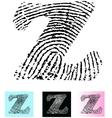 Fingerprint Alphabet Letter Z vector image vector image