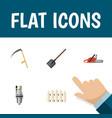 flat icon farm set of wooden barrier pump shovel vector image