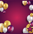 glossy happy birthday balloons background vector image vector image
