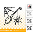 halloween spider web simple black line icon vector image vector image