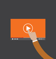Hand Touch On Video Player vector image vector image